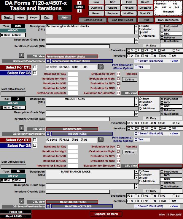 Task List Worksheet : Screen shots